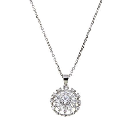 Absolute™ 1.12ctw CZ Sterling Silver Round and Baguette Circle Pendant