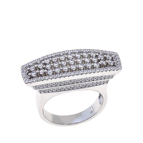 Absolute™ 1.15ctw CZ Sterling Silver Pavé East/West Ring