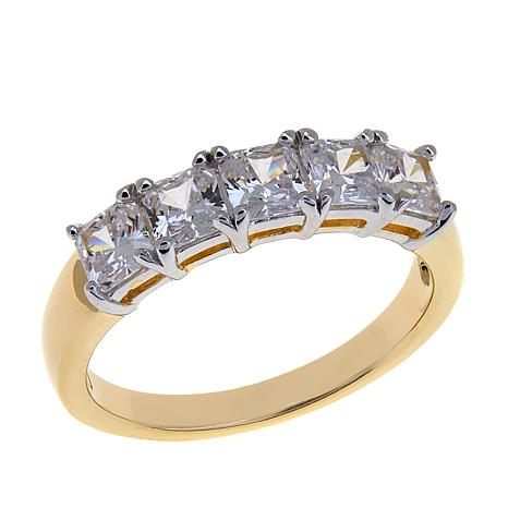 Absolute™ 1.25ctw CZ Princess-Cut 5-Stone Ring