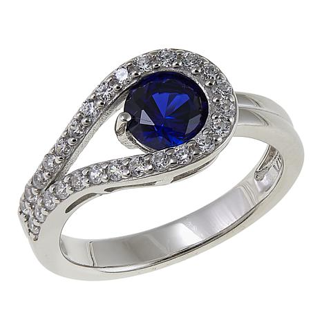 Absolute™ 1.30ctw CZ and Created Sapphire Sterling Silver Loop Ring