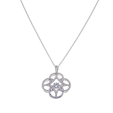 """Absolute™ 1.49ctw CZ Sterling Silver Dancing Pendant with 20"""" Chain"""