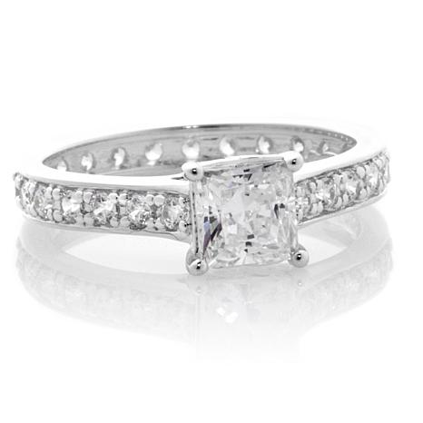 Absolute™ 1ctw Cubic Zirconia Sterling Silver Princess-Cut 4-Prong ...