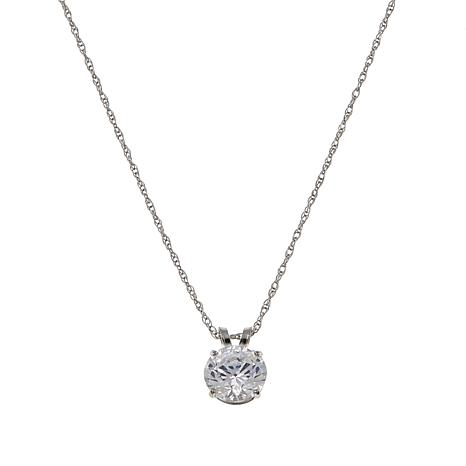 """Absolute™ 1ctw CZ 14K Round Solitaire Pendant with 18"""" Chain"""