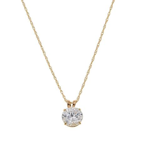 "Absolute™ 1ctw CZ 14K Round Solitaire Pendant with 18"" Chain"