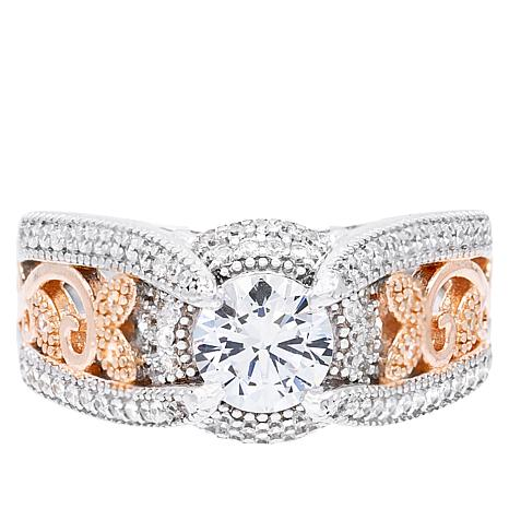 Absolute™ 2-Tone Sterling Silver Cubic Zirconia Filigree Ring