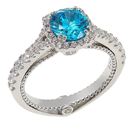 Absolute™ 2.10ctw CZ Sterling Silver Blue and Clear Beaded Shank Ring