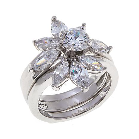 Absolute™ 2.33ctw CZ Marquise 2-piece Ring Guard Set
