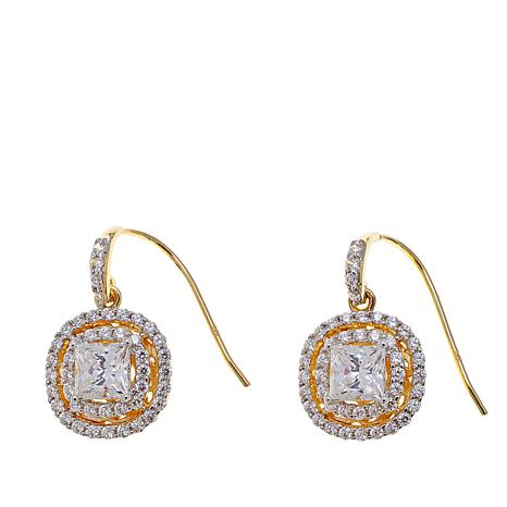 Absolute™ 2.4ctw Cubic Zirconia Double Halo Earrings