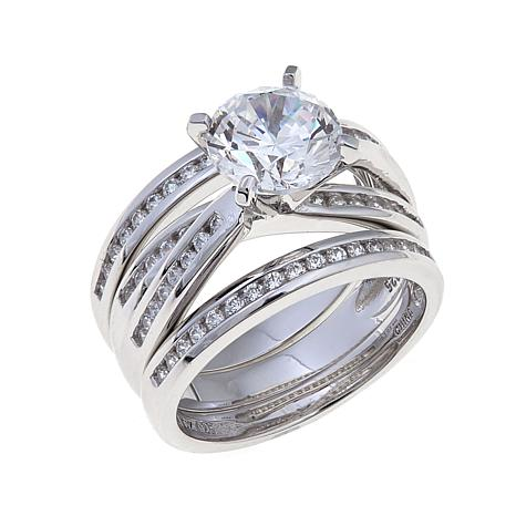 absolute 264ctw cz round overlapping 3pc ring set - 3 Piece Wedding Ring Set