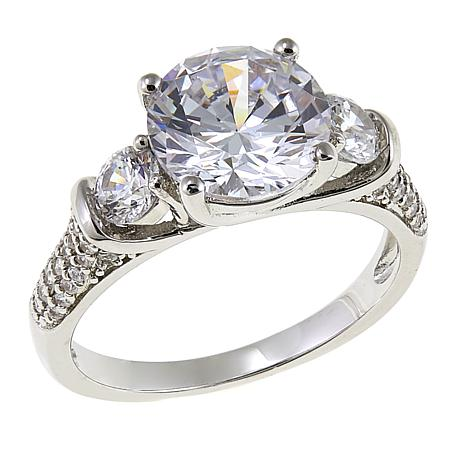 Absolute™ 2.71ctw CZ Sterling Silver Round 3-Stone Pavé Ring
