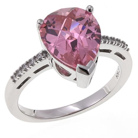 Absolute™ 2.80ctw CZ Sterling Silver Pink Pear and Pavé Ring