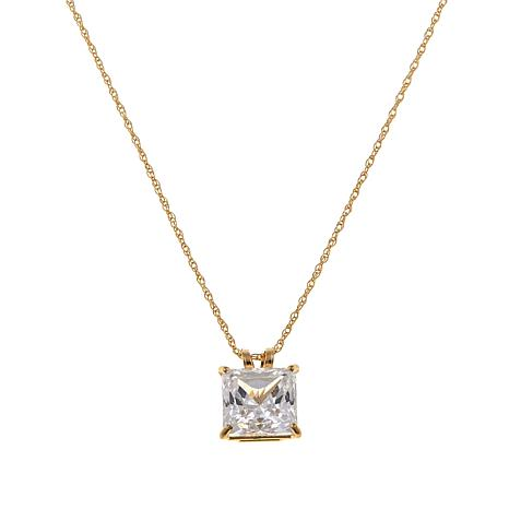 """Absolute™ 2ctw CZ 14K Princess Solitaire Pendant with 18"""" Chain"""
