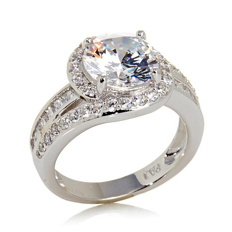 Absolute™ 3.69ctw Round CZ with Baguette & Pavé Sides Ring