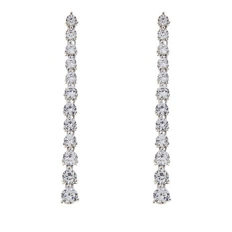 b4374eb88 Absolute™ 3.90ctw Cubic Zirconia Round Stone Linear Drop Earrings - 8571313  | HSN