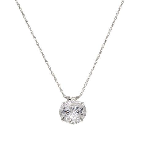 """Absolute™ 3ctw CZ 14K Round Solitaire Pendant with 18"""" Chain"""
