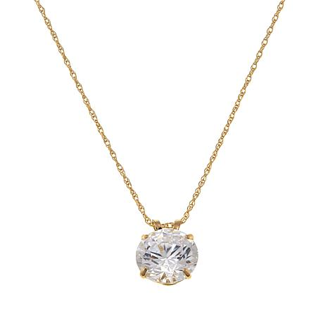 "Absolute™ 3ctw CZ 14K Round Solitaire Pendant with 18"" Chain"