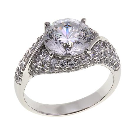 Absolute™ 4.12ctw CZ Sterling Silver 100-Facet Round Pavé Ring