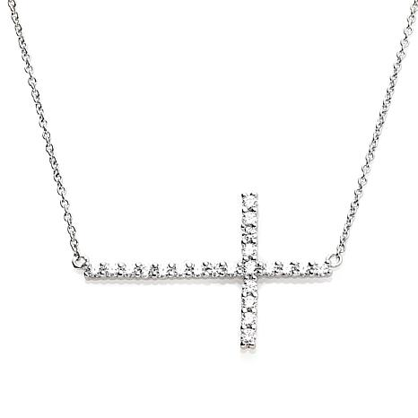 Absolute™ .45ctw Cubic Zirconia Sideways Cross Necklace