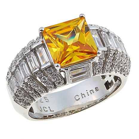Absolute™ 4.76ctw Clear and Canary CZ Square Angled Shank Ring