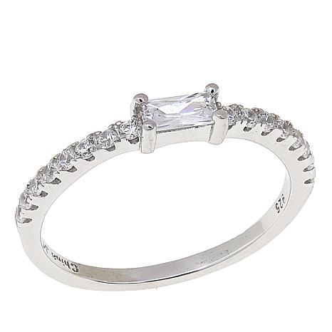 Absolute™ .48ctw CZ Rectangular and Pavé Sterling Silver Band Ring
