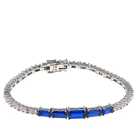 """Absolute™ 6.06ctw CZ and Created Sapphire Baguette 6-3/4"""" Bracelet"""