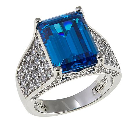 Absolute™ 7.65ctw CZ Sterling Silver Blue Emerald-Cut Pavé Ring