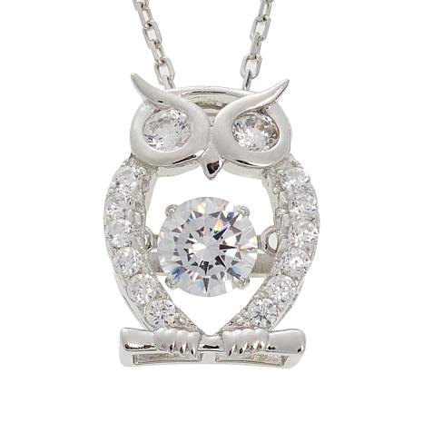 """Absolute™ .76ctw Dancing CZ Owl Pendant with 18"""" Chain"""