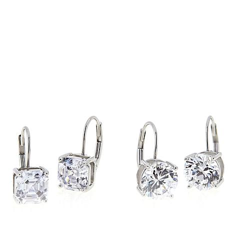 Absolute™ 8ctw CZ Sterling Silver Asscher and Round Drop Earrings Set