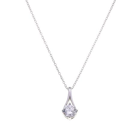 Absolute™ .90ctw CZ  100-Facet Round Split Bail Pendant with Chain