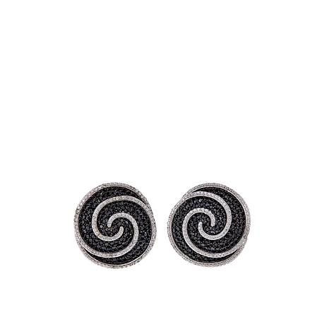 Absolute™ 9.60ctw Cubic Zirconia Black and Clear Spiral Earrings