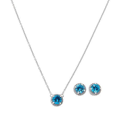 Absolute™ Birthstone CZ Halo Earrings, Pendant and Chain Set