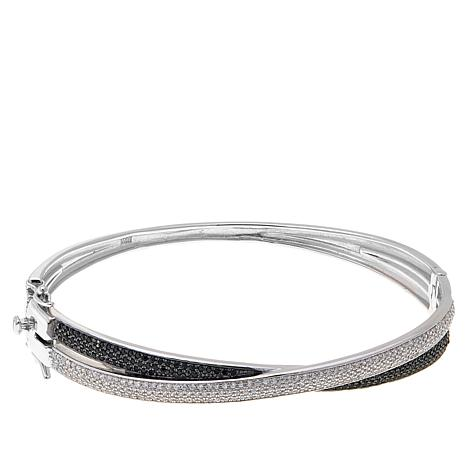 Absolute™ Black and Clear CZ Crossover Bangle Bracelet