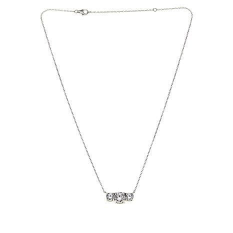 Absolute™ Cubic Zirconia Adjustable 3-Stone Round  Necklace