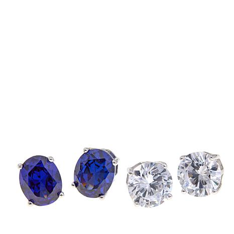 Absolute™ Cubic Zirconia  Blue and Clear Oval and Round Earrings Set