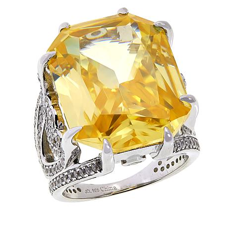 Absolute™ Cubic Zirconia Canary and Clear Radiant-Cut Pavé Ring