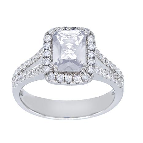Absolute™ Cubic Zirconia Clear Emerald-Cut Halo Solitaire Ring