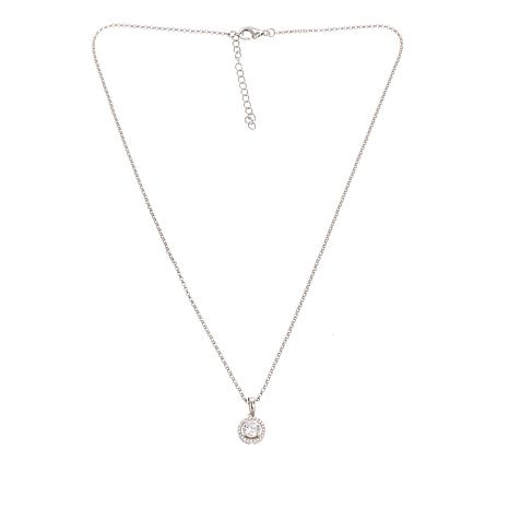 """Absolute™ Cubic Zirconia Clear  Open Frame Halo Pendant with 18"""" Chain"""