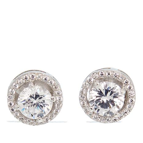 Absolute Cubic Zirconia Clear Sterling Silver Halo Stud Earrings