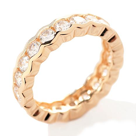Absolute™ Cubic Zirconia Gold-Plated Round Semi-Bezel Eternity Ring