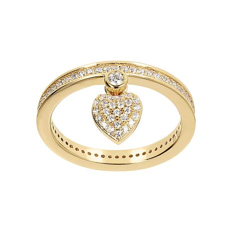 Absolute™ Cubic Zirconia Heart Charm Ring