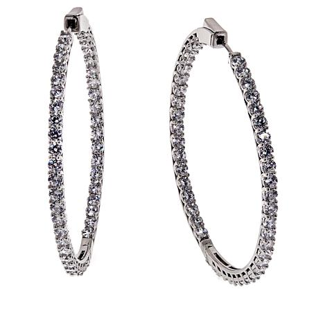 Absolute Cubic Zirconia Inside Outside Hoop Earrings Large 9019634 Hsn