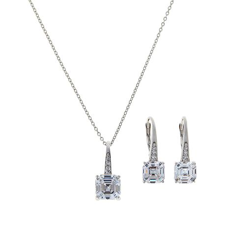 Absolute™ Cubic Zirconia Pavé Pendant and Drop Earrings Set