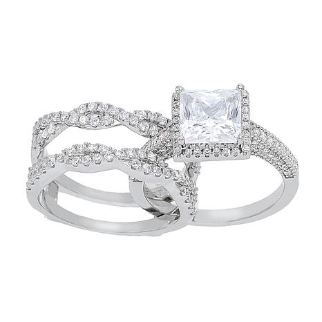 Absolute™ Cubic Zirconia Princess with Twist Sides Guard Ring 2pc Set