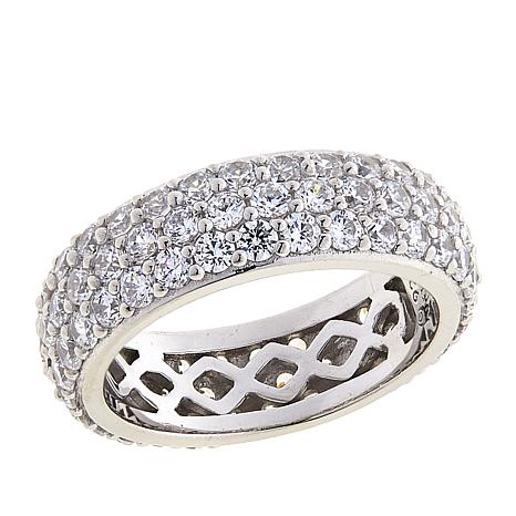 Absolute™ Cubic Zirconia Sterling Silver 3-Row Pavé Eternity Ring