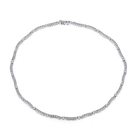 Absolute™ Cubic Zirconia Wave-Design Line Necklace