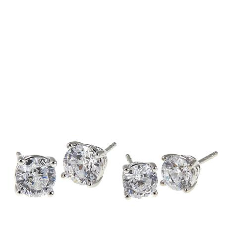 Absolute™  CZ Aurora Star 101 Facets Platinum-Plated Earrings Set
