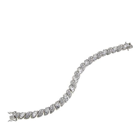 """Absoluteâ""""¢ CZ Sterling Silver Round and Baguette San Marco Bracelet"""