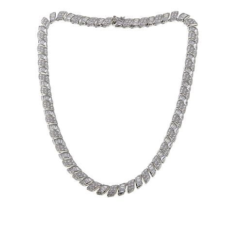Absolute™ CZ Sterling Silver Round and Baguette San Marco Necklace