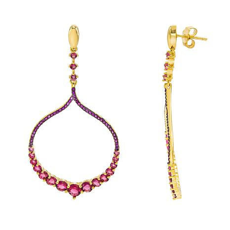 Absolute™ Gold-Plated Sterling Silver Pink Stone Chandelier  Earrings