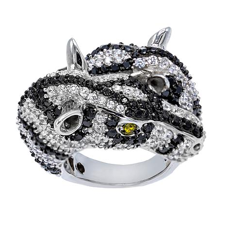 Absolute™ Green, Black and Clear CZ Pavé Zebra-Design Ring